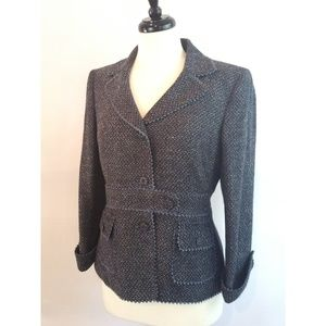 Nipon Boutique Size 8P Blazer Jacket Blue Black